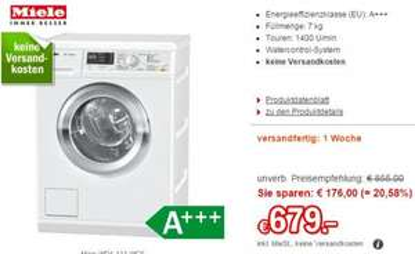 [Redcoon] Miele Waschmaschine WDA 111 WCS für 679€ inkl. Versand
