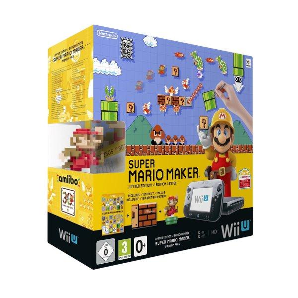 [Amazon.de / Blitzangebot] Nintendo Wii U Premium Pack schwarz, 32GB inkl. Super Mario Maker + Artbook + Amiibo