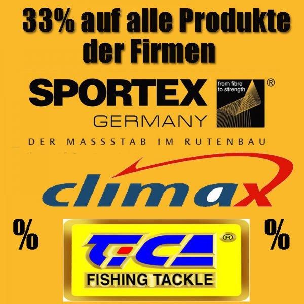 Angeldeal: Angelruten bzw. Angelrollen von Sportex, Tica, und Schnur von Climax -33% und mehr