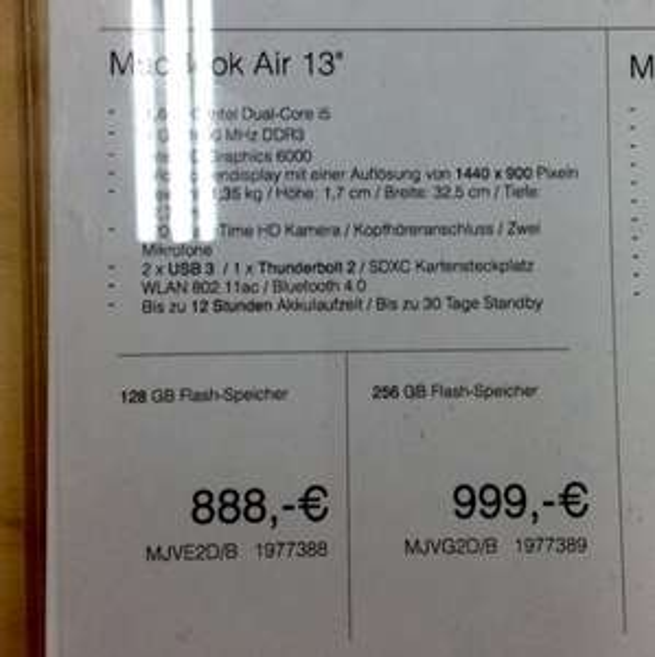 Lokal: Media Markt Waltersdorf MacBook Air, 13 Zoll, 2015
