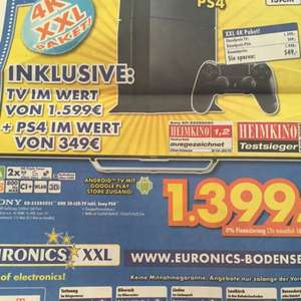 Sony KD-55X8505C inkl. PS4 UHD 3D-LED-TV