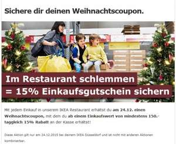[IKEA DÜSSELDORF] 15% sparen am 24.12. ab 150€