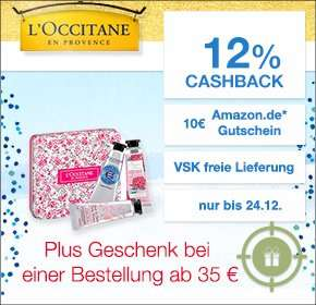 qipu: L'Occitane 10€ Amazon GS ab 35€ Einkauf, plus 12% cashback und 13€ Gratis-Beigaben