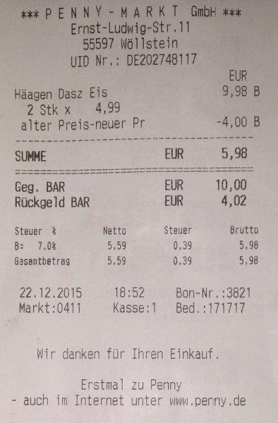 """[Penny Wöllstein] Häagen-Dazs Eis 500ml """"Abverkauf"""" (mit Coupies 1,99€)"""
