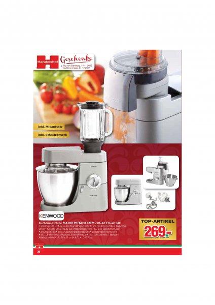 Kenwood KMM770 Major Premier Küchenmaschine + AT337 Mixeraufsatz + AT340 Schnitzelwerk @ Handelshof
