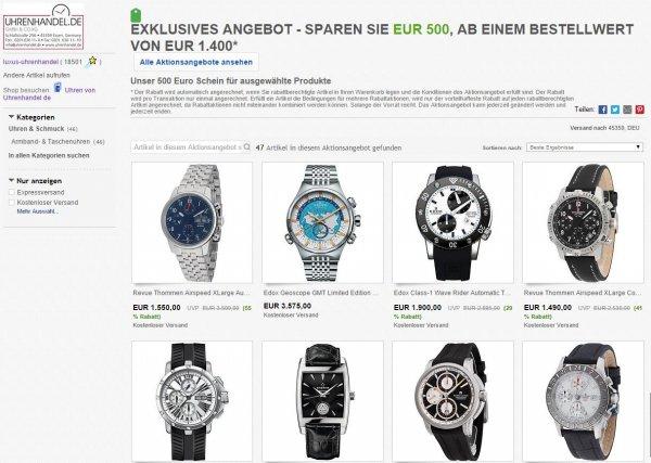 500€ Rabatt auf diverse Uhren (Revue Thommen, Fortis, Edox, Eterna, Maurice Lacroix etc)