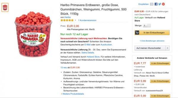 Haribo Primavera 12x 1150g für je 95Cent + 4,95€ Versand