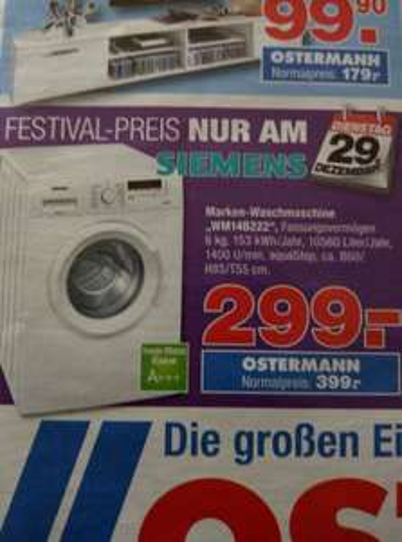 Siemens Waschmaschine A+++/ am 29ten / Ostermann