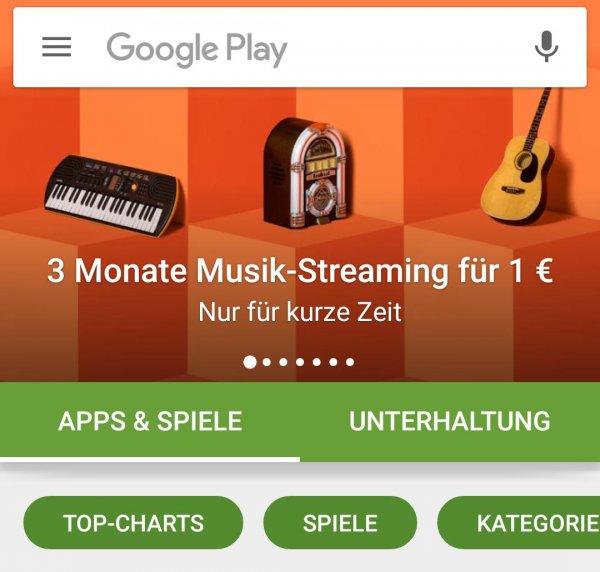 Google-Play-Musik 3 Monate für 1 Euro