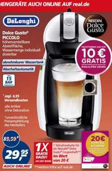 (Real)Nescafé DeLonghi Dolce Gusto Piccolo Kapselmaschine für 29,95€ inklusive 30€ Gutschein
