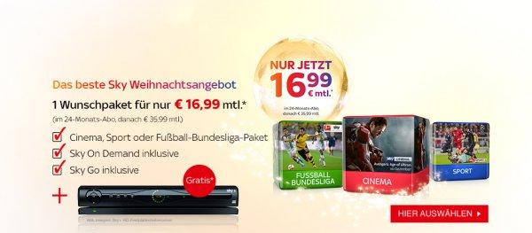 Sky Wunschabo ab 16,99 € + 50€ Einkaufsgutschein
