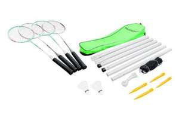 [Amazon Prime] HUDORA Badmintonset  (4 Schläger, 2 Kork-Federbälle, 1 Netz, 4 Heringe)