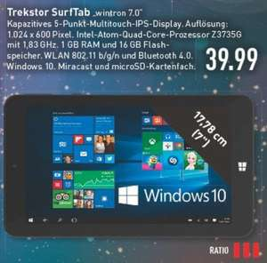 [lokal RATIO Ratingen] Trekstor SurfTab® wintron 7.0 16 GB WiFi Win 10 schwarz 39,99€