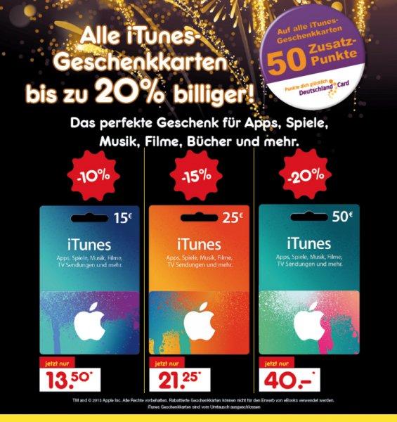 Netto - Itunes Karten bis zu 20% Rabatt + 50 Zusatzpunkte Deutschlandcard / 50EUR für 40EUR