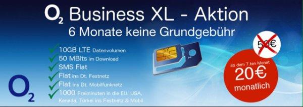 Sim Only Angebot  o2  on Business XL Sim + EU Flat