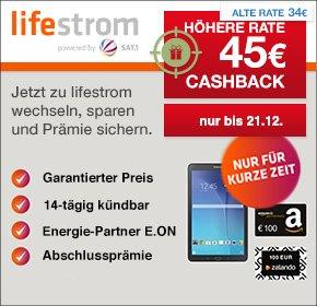 [Wieder da] Lifestrom mit 45€ Cashback [Qipu] + 100€ Amazon Gutschein oder Galaxy Tab E 9.6 ( idealo 169€) für Stromtarif ohne Mindestvertragslaufzeit