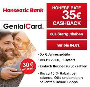 [Qipu]Hanseatic Bank GenialCard 35€ Cashback + 30€ Startguthaben