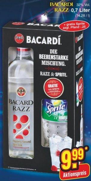 BACARDI RAZZ + SPRITE 1L GRATIS oder BACARDI BLANCA + 1 Glas GRATIS bei NETTO (ohne Hund) für 9,99 € vom 28.12. - 02.01.