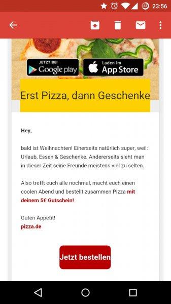 pizza.de 5€ Gutschein - mit 30% quipu benutzen!