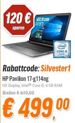 "HP Pavilion 17-g114ng 17,3"" HD Intel Core i5-6200U, 4GB, 500GB HDD, Win 10 für 499 +VK bei nbb"