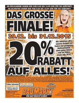 [Globus Baumarkt, Wächtersbach] 20% auf alles vom 29. - 31.12