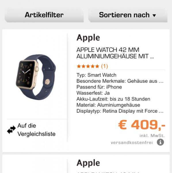 Apple Watch 42 mm bei Saturn für 409€