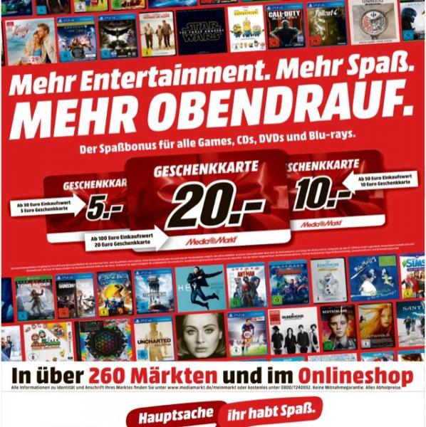 Bis zu 20% Bonus auf CDs, DVDs, BDs und Games (Media Markt)