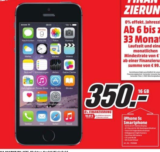 (Lokal) iPhone 5S 16gb für 350€ @ Mediamarkt Bielefeld