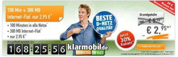 @Handybude-Klarmobil-  Telekom D1 Netz-  100 Min- 300 Mb - 24 / Monate / 2,95 € monatlich