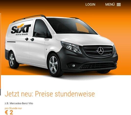 Sixt Transporter für 2€/h (bei max. 4h)