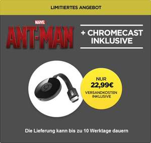 "[Wuaki] Google Chromecast 2 (2015) + ""Ant-Man"" (Stream) für 22,99€"