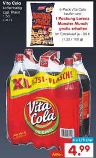 [Netto - ohne Hund] Vita Cola 6er Pack 6x1,75L + 1 Packung Lorenz Monster Munch gratis für 4,99€ + Pfand