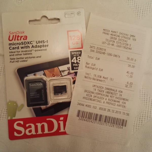 MicroSD 128GB SanDisk LOKAL: Media Markt Zwickau  39, 00€