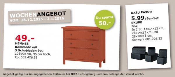 [Lokal IKEA Ludwigsburg] Hemnes Kommode rot 49€ (Normalpreis 99€)