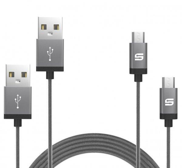 2er-Pack Syncwire Micro USB Kabel Nylon - Lebenslange Garantie - Ladekabel Datenkabel - 1m Space Grau