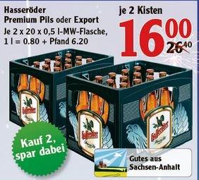 [div. Händler] Hasseröder billiger als Diesel! 20er-Kiste 0,5 l ab 7,99 €, 2x 20er-Kiste 0,5 l ab 15,80 € €