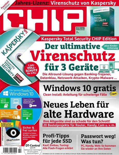 Kaspersky Total Security Chip Edition für 7 Euro | 1-Jahres-Lizenz für 3 Geräte