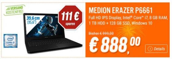 """[Notebooksbilliger]: MEDION ERAZER P6661 MD99508 Notebook 15,6"""" Full HD/ Intel Core i7-6500U/ 8GB RAM/ 128GB SSD + 1000GB/ GeForce GTX 950M/ Win10 - 888 € (inkl. Versand)"""