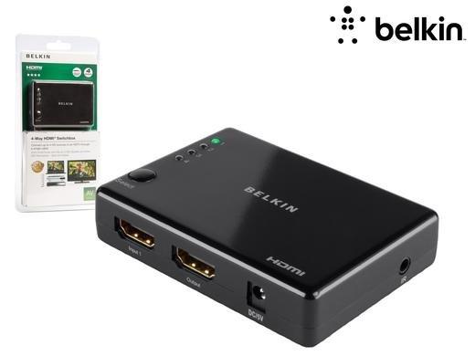 [iBOOD] Belkin 4-fach HDMI Switchbox Umschalter, 4 HDMI Eingänge, 1 HDMI Ausgang schwarz