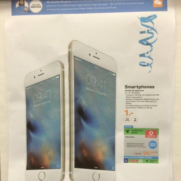 [Saturn Bergisch Gladbach] Apple IPhone 6s 16 GB mit Vodafone Allnet Flat 2 GB Internet, 34,99€ mtl., einmaliger 1€