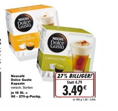 Nescafe Dolce Gusto Kapseln 3,49€ verschiedene Sorten im Kaufland Super-Weekend vom 7-9.01