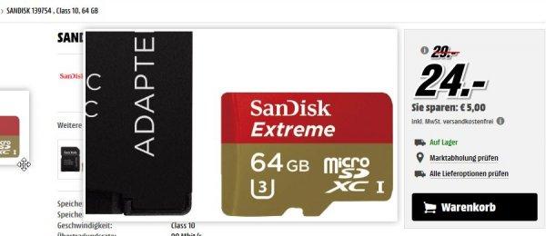 [mediamarkt.de] SanDisk Extreme micro SDXC 64GB Class 10 UHS-I U3 mit Adapter