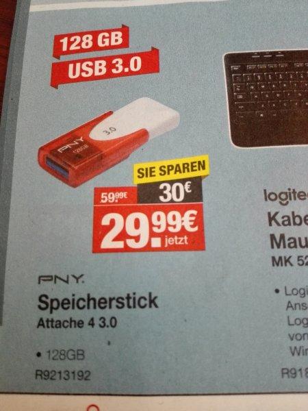 (Offline und bundesweit) pny wave attache 4 USB Stick 128 gb usb 3.0 für 29,99€ @staples