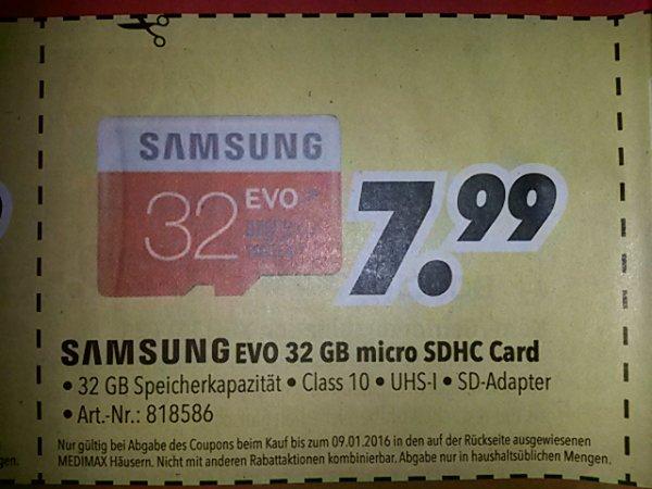 Medimax (lokal) Samsung EVO 32GB micro SDHC Card