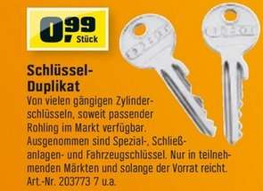 [OBI - bundesweit] Schlüsselduplikat für 0,99 Euro