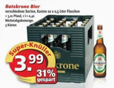 Ratskrone 20x0,5 Bier (Helles, Export, Pils) für 3,99 € - Eckental