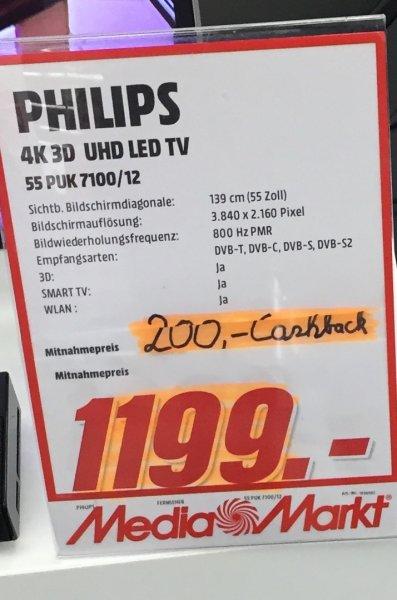 Philips 55PUK7100 4K UHD Ambilight bei Media Markt Duisburg/Mülheim für 1199€ minus 200€ Cashback = 999€