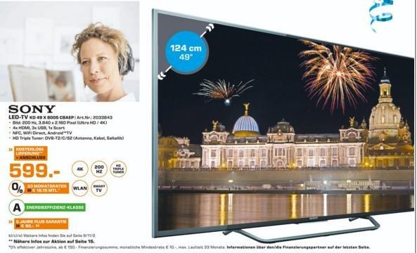 SONY KD49X8005 4K TV @ Saturn Ludwigshafen 599€