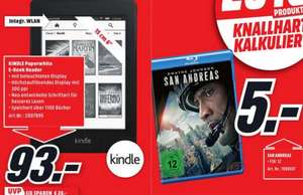 Kindle Paperwhite 7.Gen 2015 für 93 Euro oder San Andreas (Dwayne Johnson) Bluray für 5 Euro im MediaMarkt Günthersdorf