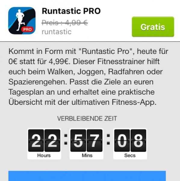 Die App Runtastic Pro heute gratis anstatt 4,99